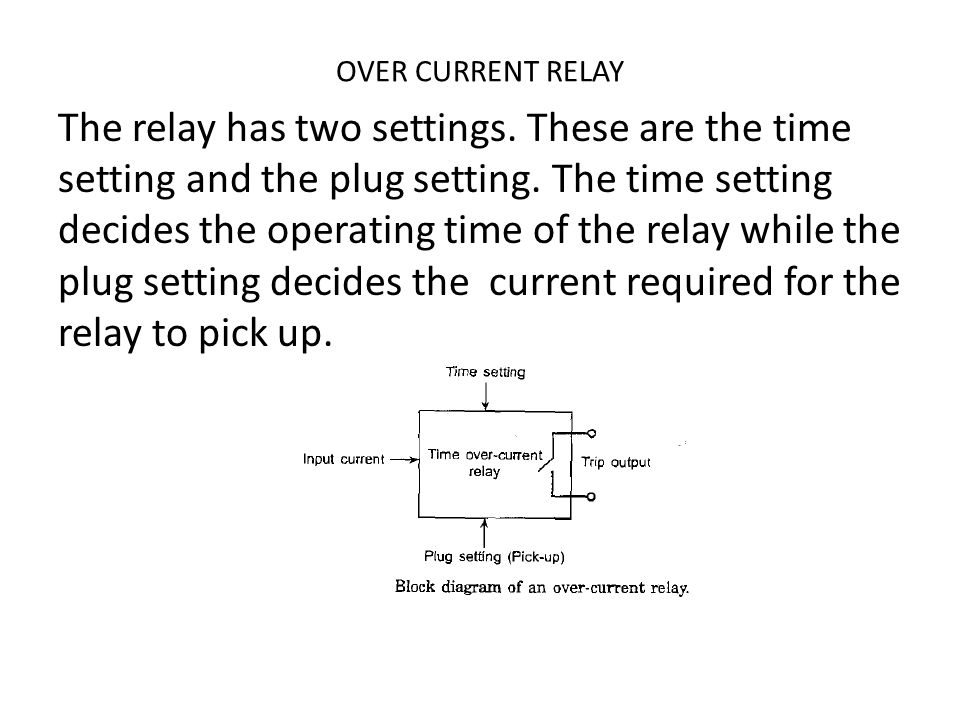OVER CURRENT RELAY The relay has two settings These are the time