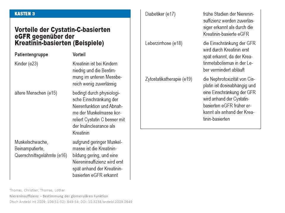 4 Thomas, Christian; Thomas, Lothar Niereninsuffizienz U2013 Bestimmung Der  Glomerulären Funktion Dtsch Arztebl Int 2009; 106(51 52): 849 54; ...