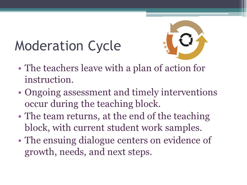 Moderation Cycle The teachers leave with a plan of action for instruction.