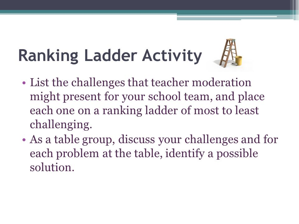 Ranking Ladder Activity List the challenges that teacher moderation might present for your school team, and place each one on a ranking ladder of most to least challenging.