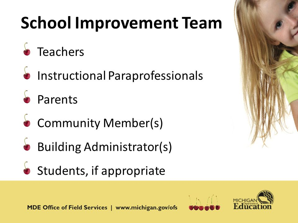 Teachers Instructional Paraprofessionals Parents Community Member(s) Building Administrator(s) Students, if appropriate School Improvement Team