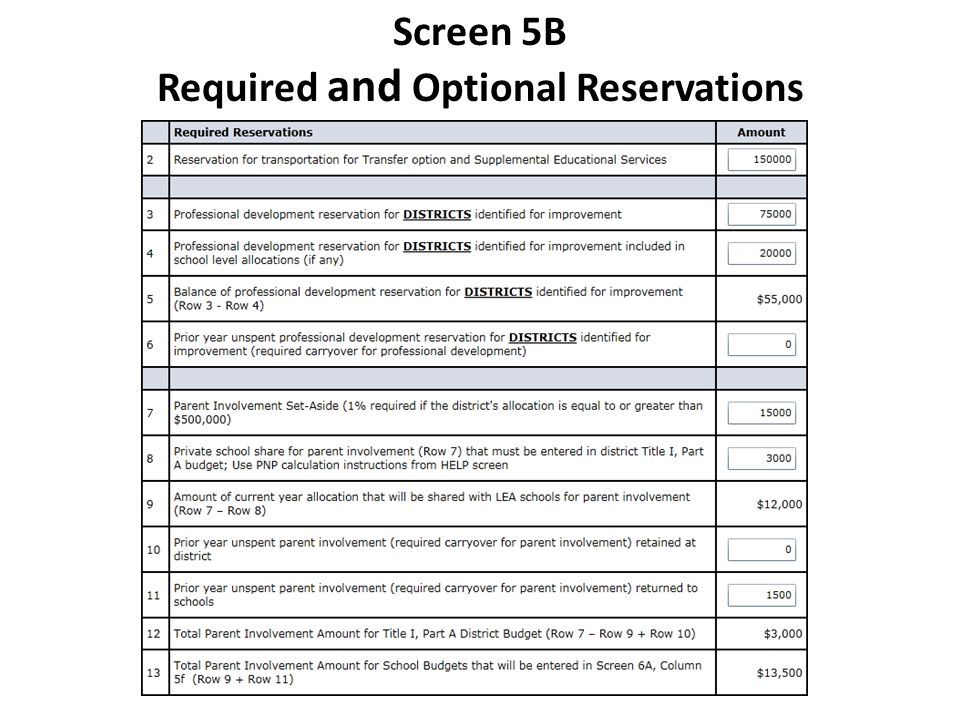 Screen 5B Required and Optional Reservations