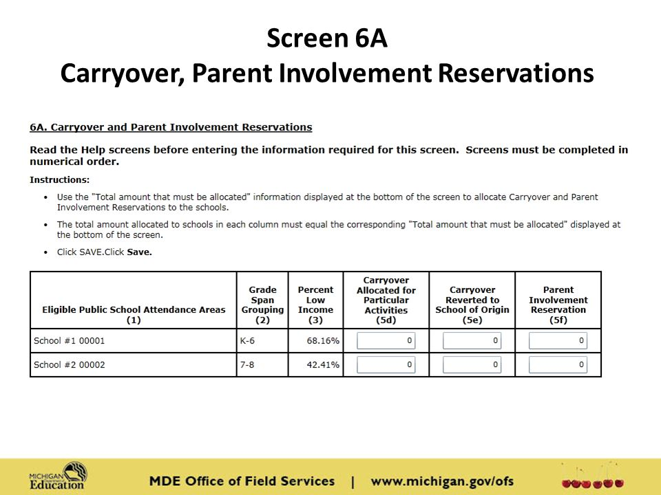 Screen 6A Carryover, Parent Involvement Reservations