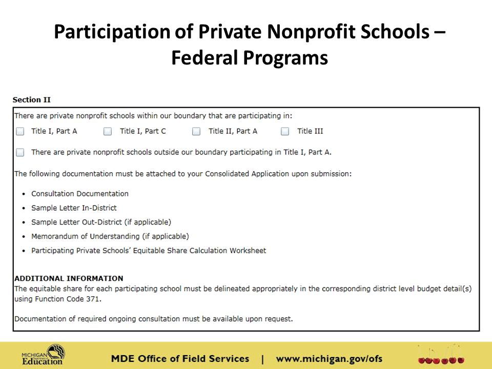 Participation of Private Nonprofit Schools – Federal Programs Content: Screen shot from MEGS Consolidated Application Section II.