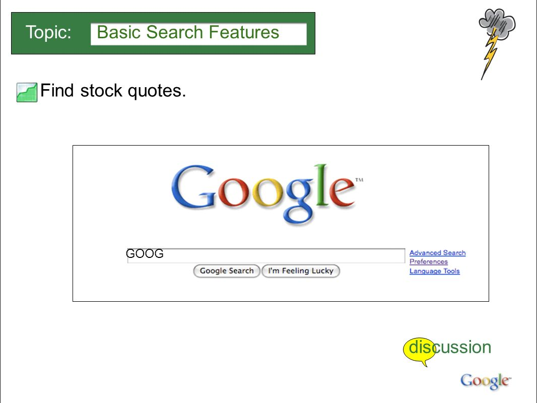 Google Stock Quotes Searching With Google Basic Search Featurestopic Quick Finds