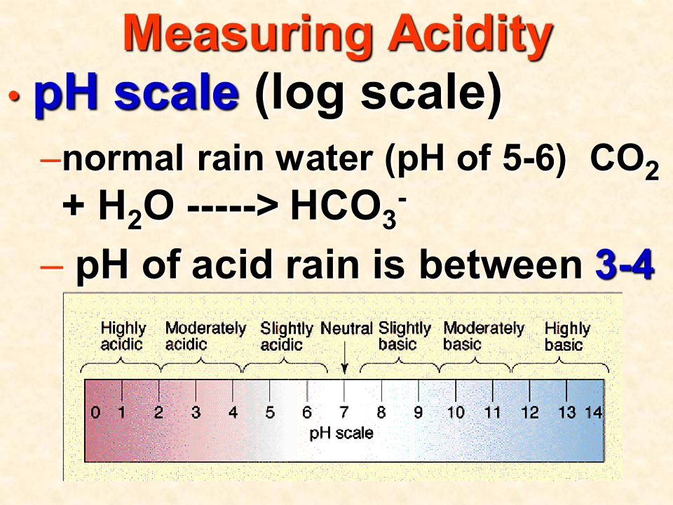 Measuring Acidity pH scale (log scale) pH scale (log scale) –normal rain water (pH of 5-6) CO 2 + H 2 O -----> HCO 3 - – pH of acid rain is between 3-4