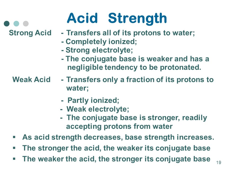19 Acid Strength Strong Acid-Transfers all of its protons to water; - Completely ionized; - Strong electrolyte; - The conjugate base is weaker and has a negligible tendency to be protonated.