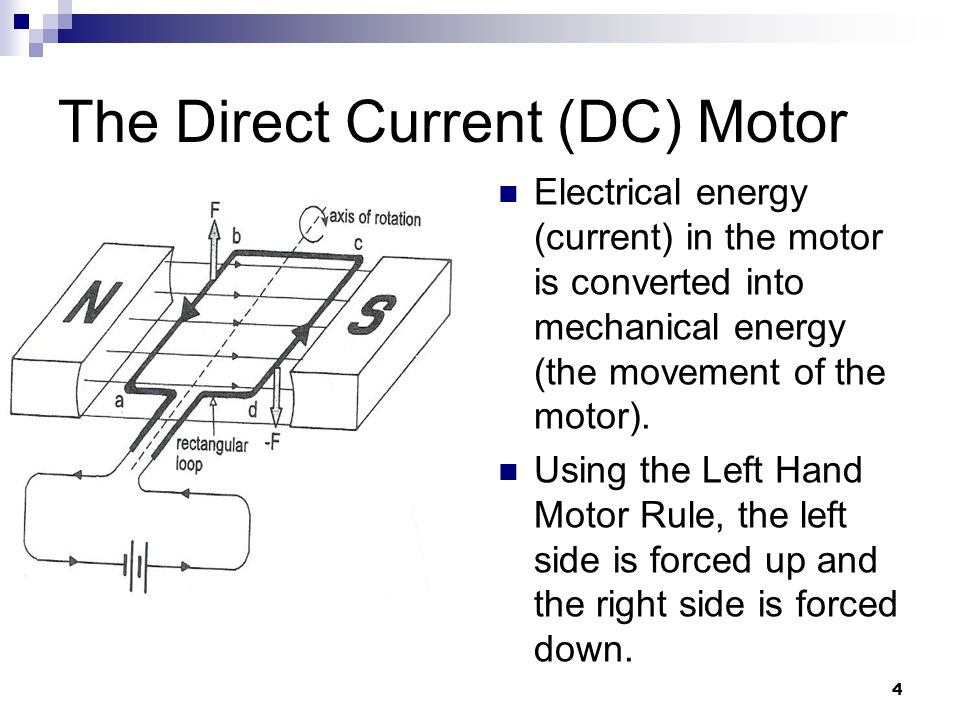 4 The Direct Current (DC) Motor Electrical energy (current) in the motor is converted into mechanical energy (the movement of the motor).