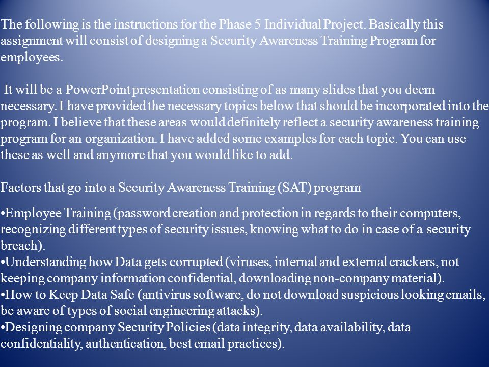 Security assignment instructions