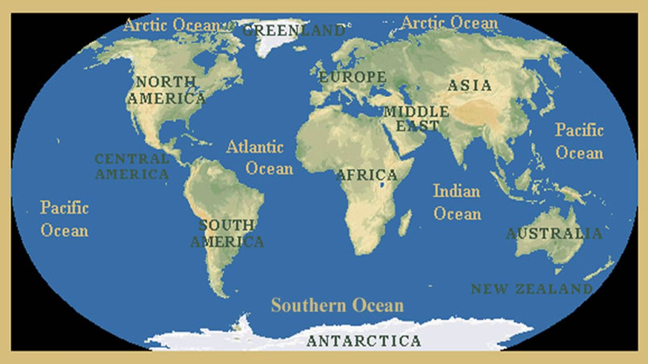 GEOGRAPHY Geography The Study Of Earths Physical Features - 7 continents and oceans map