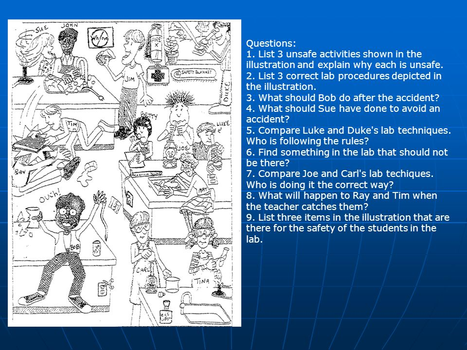 Questions: 1. List 3 unsafe activities shown in the illustration and explain why each is unsafe.