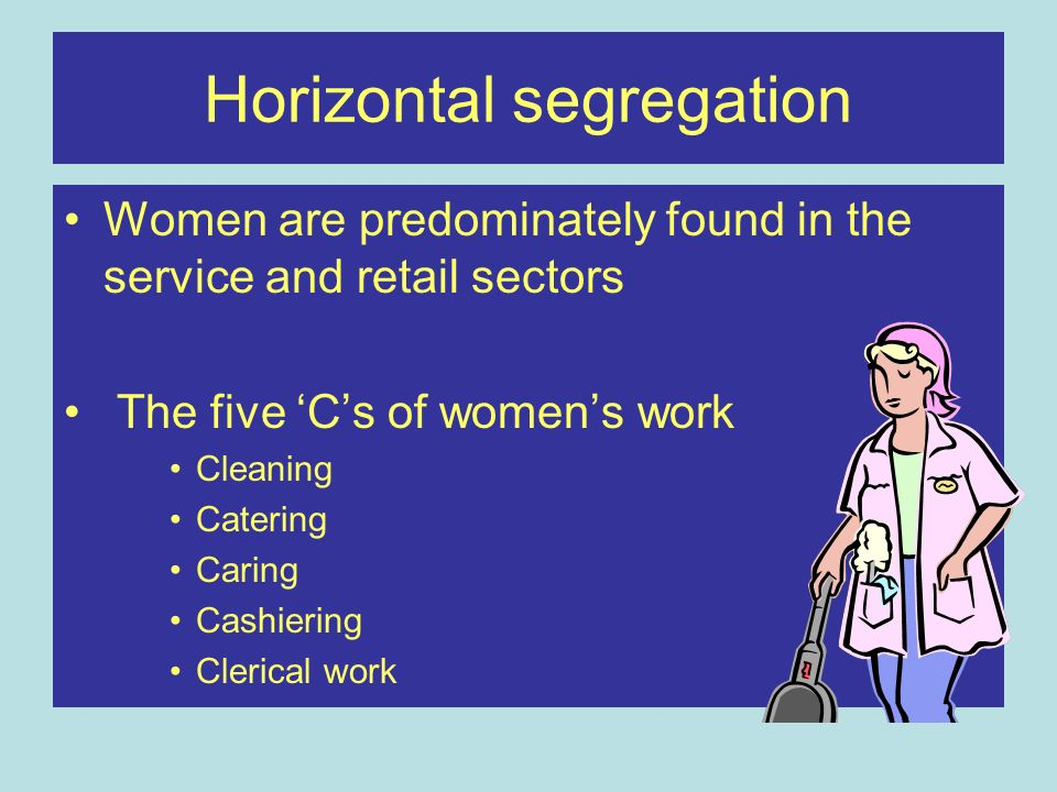 Horizontal segregation Women are predominately found in the service and retail sectors The five 'C's of women's work Cleaning Catering Caring Cashiering Clerical work