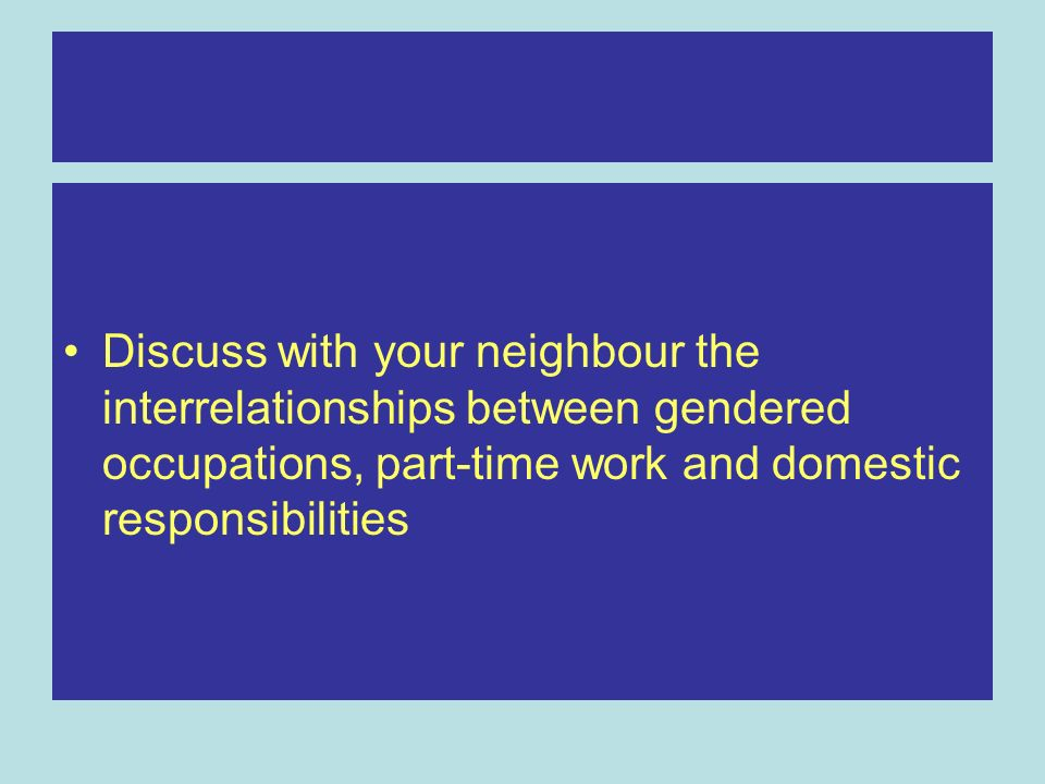 Discuss with your neighbour the interrelationships between gendered occupations, part-time work and domestic responsibilities