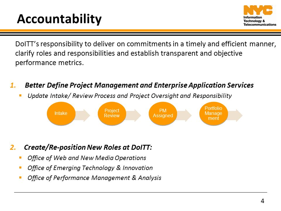 accountability doitts responsibility to deliver on commitments in a timely and efficient manner clarify roles - Information Technology Responsibilities