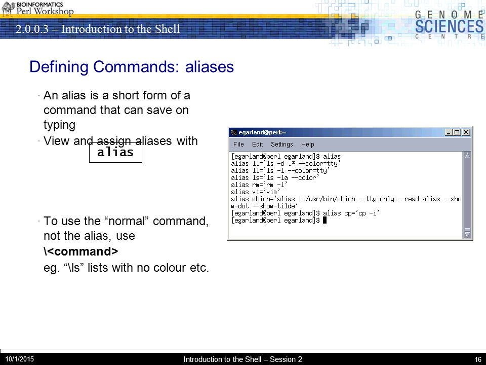– Introduction to the Shell 10/1/2015 Introduction to the Shell – Session 2 16 Defining Commands: aliases · An alias is a short form of a command that can save on typing · View and assign aliases with · To use the normal command, not the alias, use \ eg.