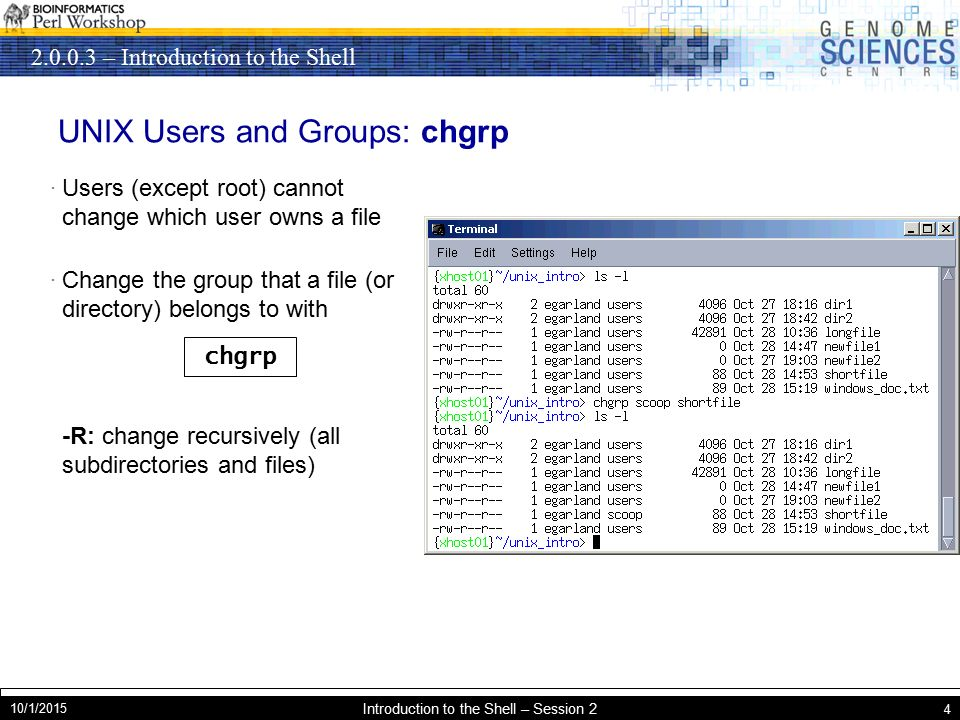 – Introduction to the Shell 10/1/2015 Introduction to the Shell – Session 2 4 UNIX Users and Groups: chgrp · Users (except root) cannot change which user owns a file · Change the group that a file (or directory) belongs to with -R: change recursively (all subdirectories and files) chgrp