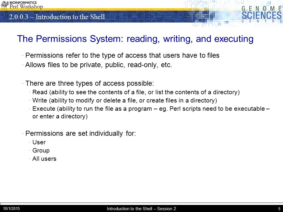 – Introduction to the Shell 10/1/2015 Introduction to the Shell – Session 2 5 The Permissions System: reading, writing, and executing · Permissions refer to the type of access that users have to files · Allows files to be private, public, read-only, etc.