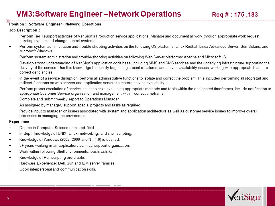 Bring The Best To Verisign  VmSoftware Engineer Network