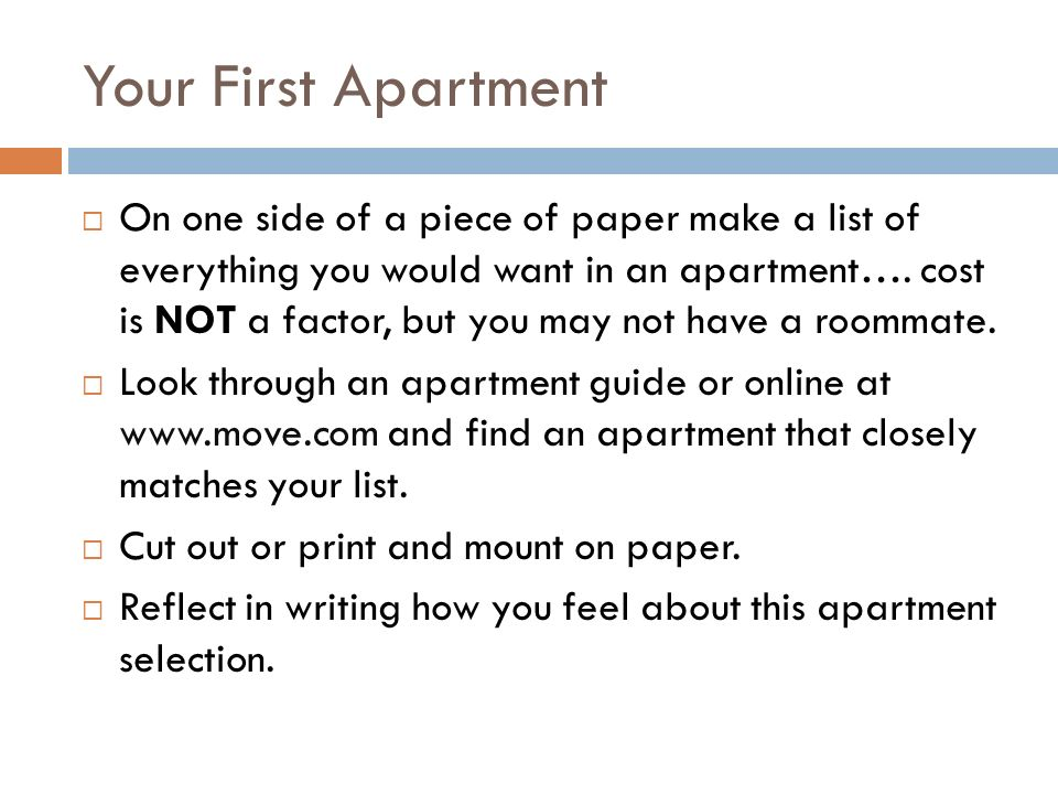 Your First Apartment  On one side of a piece of paper make a list ...