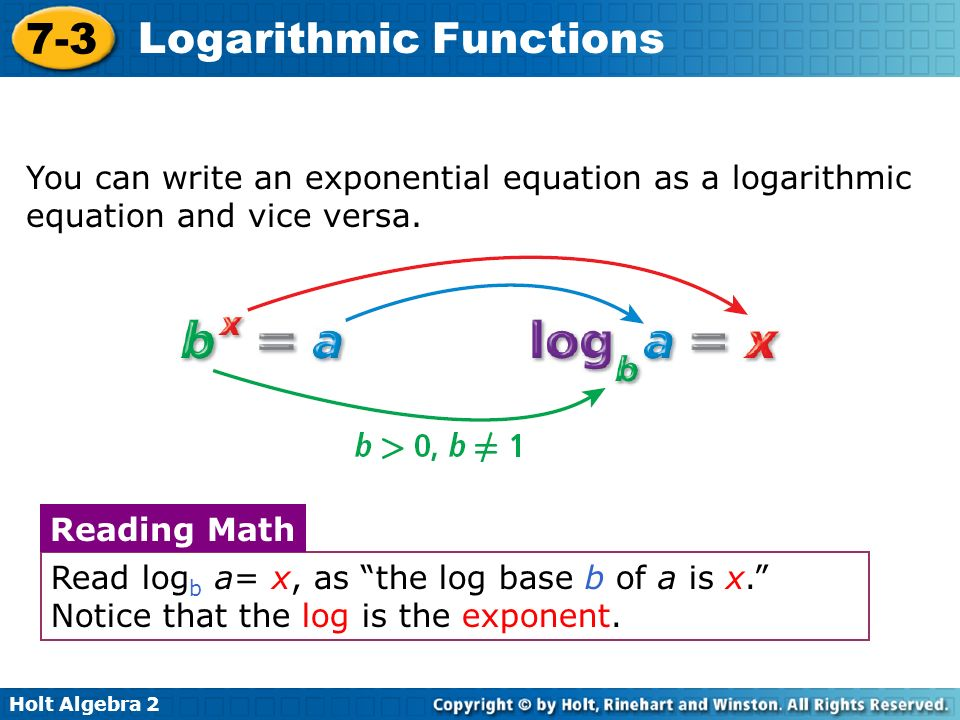 Holt Algebra Logarithmic Functions You can write an exponential equation as a logarithmic equation and vice versa.