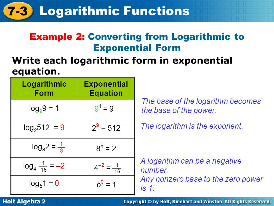 Holt Algebra Logarithmic Functions Example 2: Converting from Logarithmic to Exponential Form Write each logarithmic form in exponential equation.