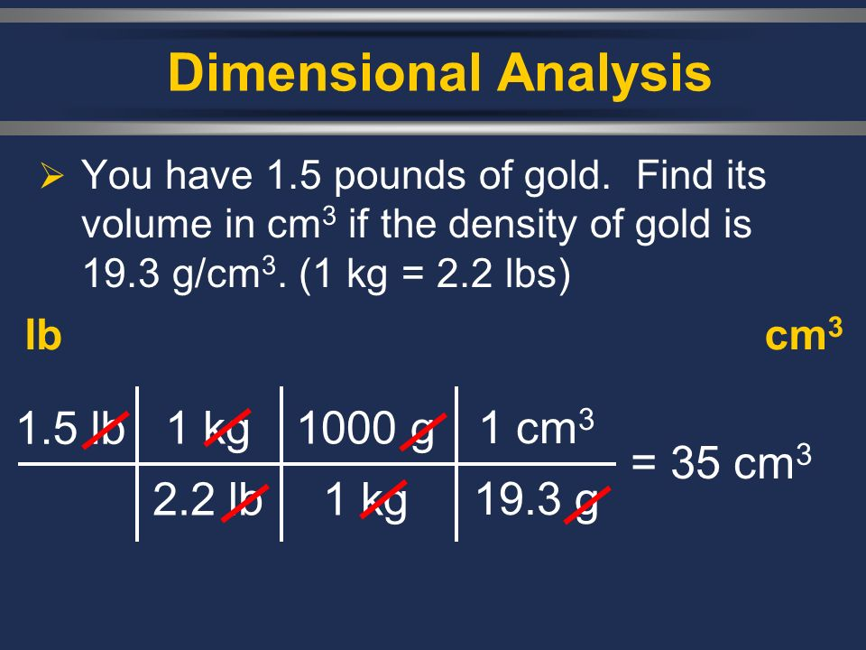 Dimensional Analysis  You have 1.5 pounds of gold.