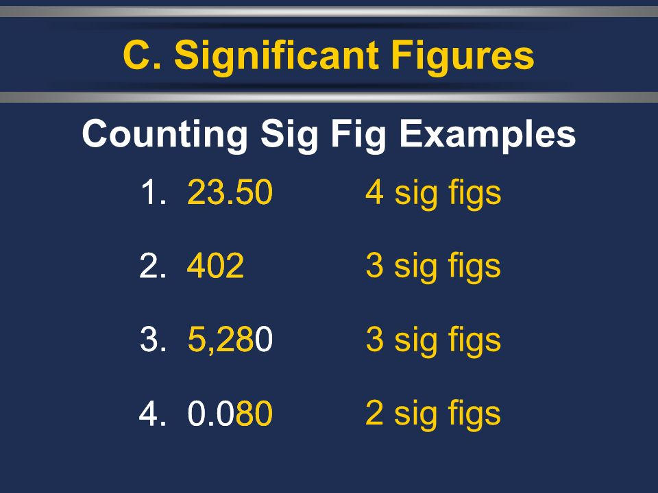 , C. Significant Figures Counting Sig Fig Examples 1.