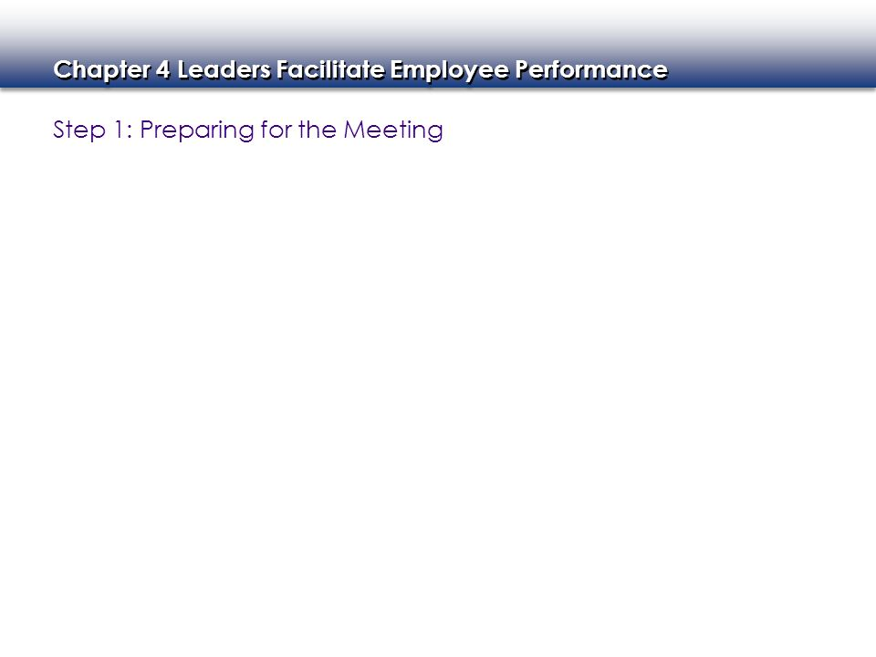 Chapter 4 Leaders Facilitate Employee Performance Step 1: Preparing for the Meeting
