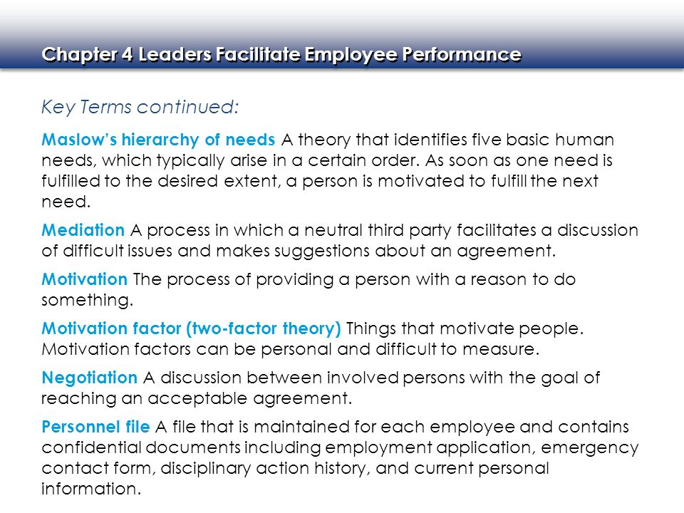 Chapter 4 Leaders Facilitate Employee Performance Key Terms continued: Maslow's hierarchy of needs A theory that identifies five basic human needs, wh