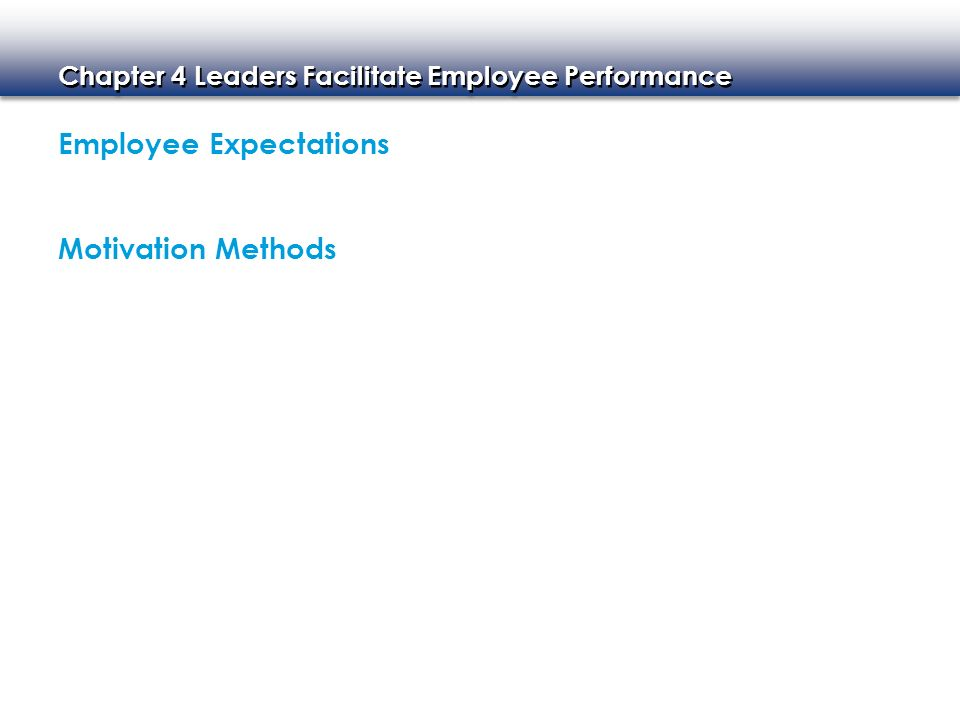 Chapter 4 Leaders Facilitate Employee Performance Employee Expectations Motivation Methods