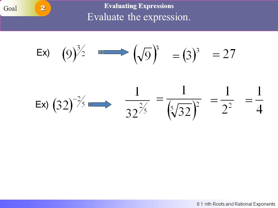 6.1 nth Roots and Rational Exponents Evaluating Expressions Evaluate the expression. Ex) Goal2