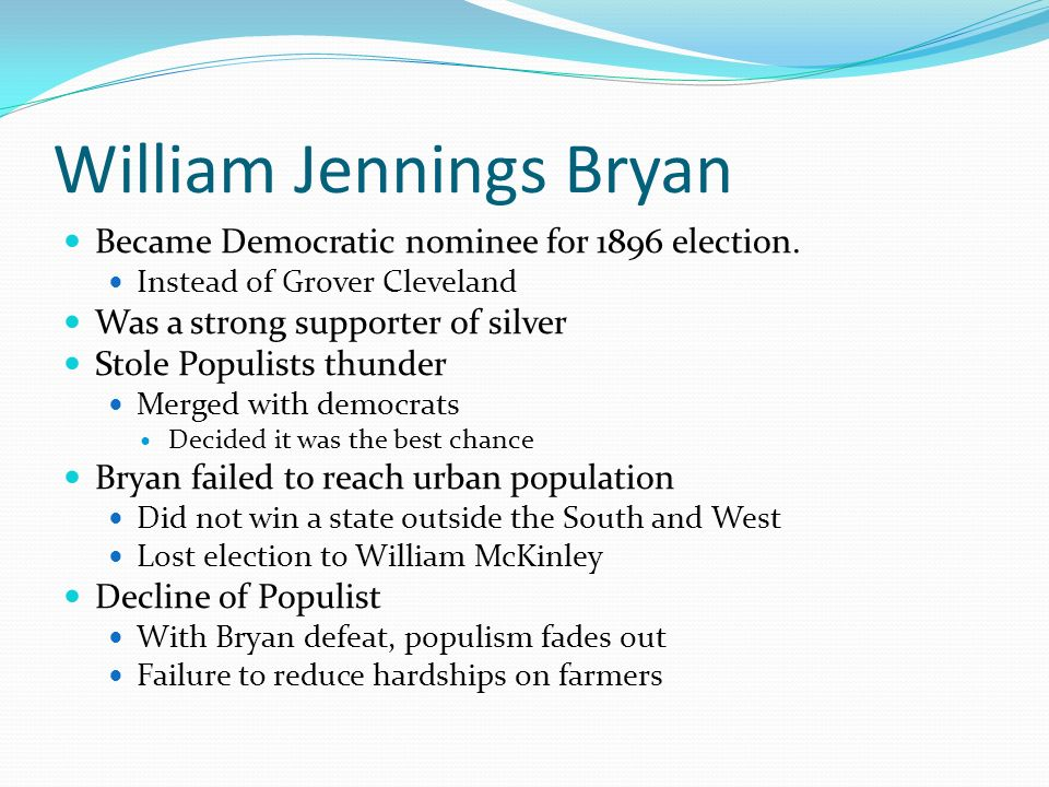 William Jennings Bryan Became Democratic nominee for 1896 election.