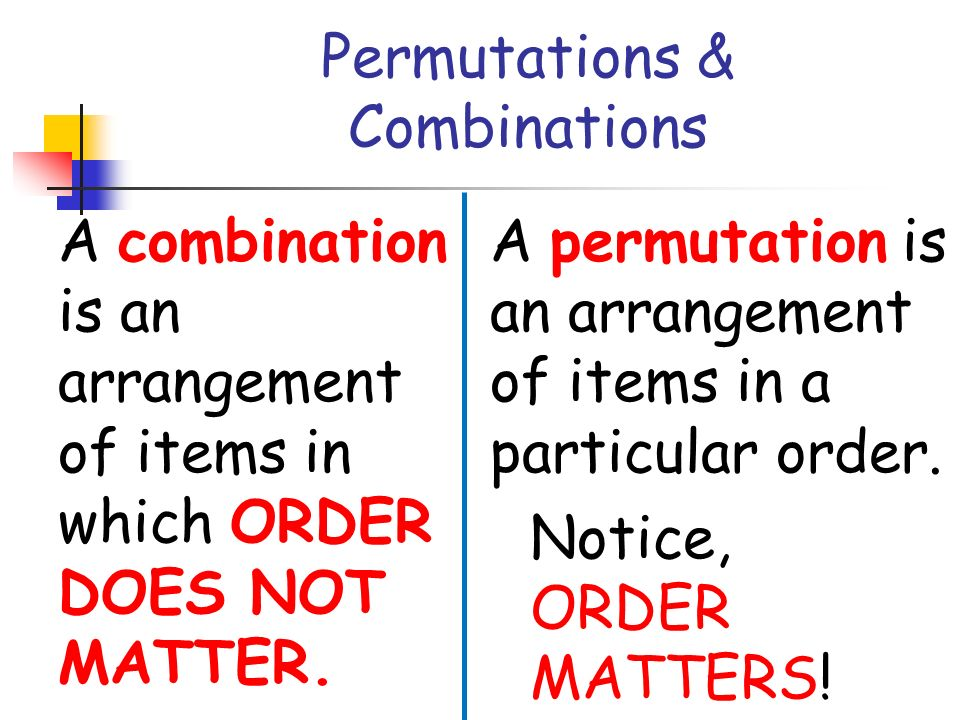 Combinations and permutations?