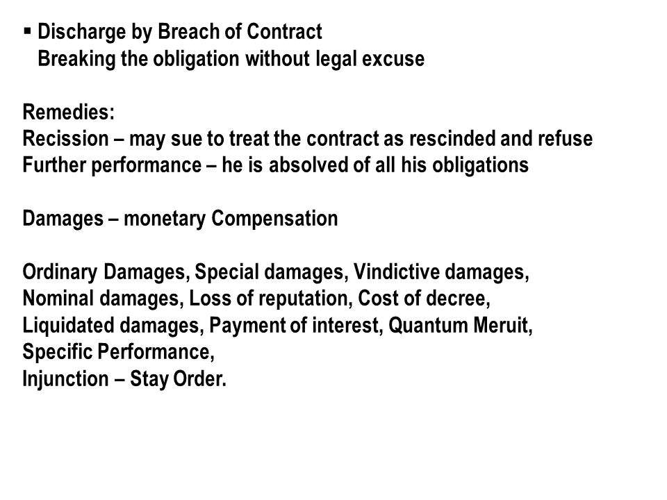 discharge of contract performance breach