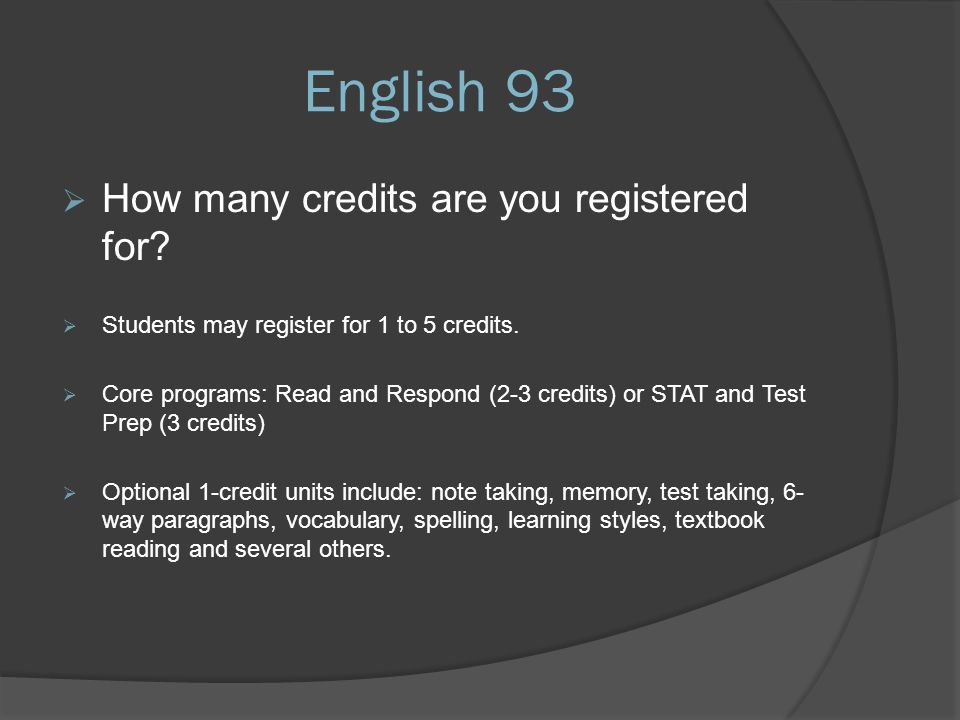 English 93  How many credits are you registered for.