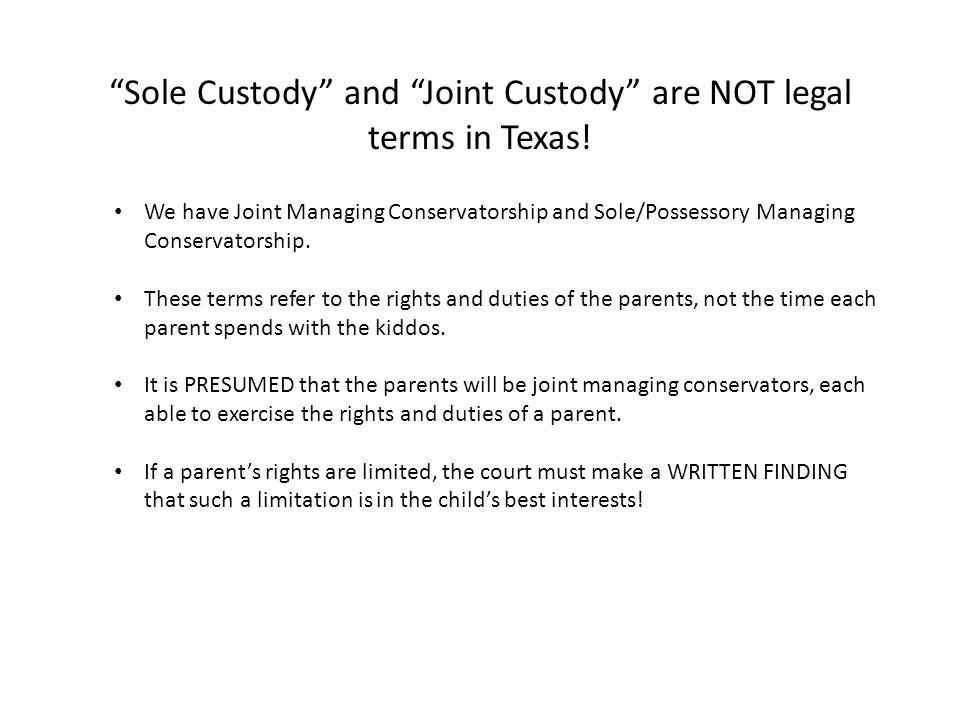 Things you probably dont know but really should about family law sole custody and joint custody are not legal terms in texas platinumwayz