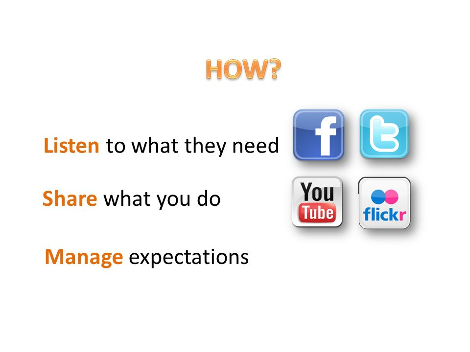 Listen to what they need Share what you do Manage expectations