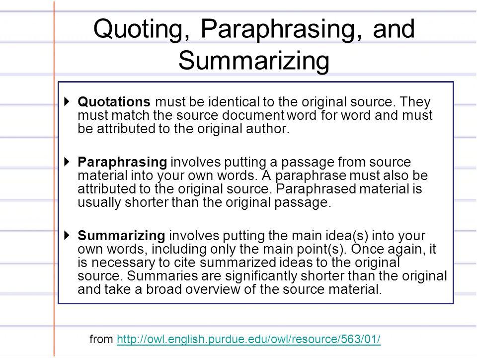 Summarizing and paraphrasing powerpoint