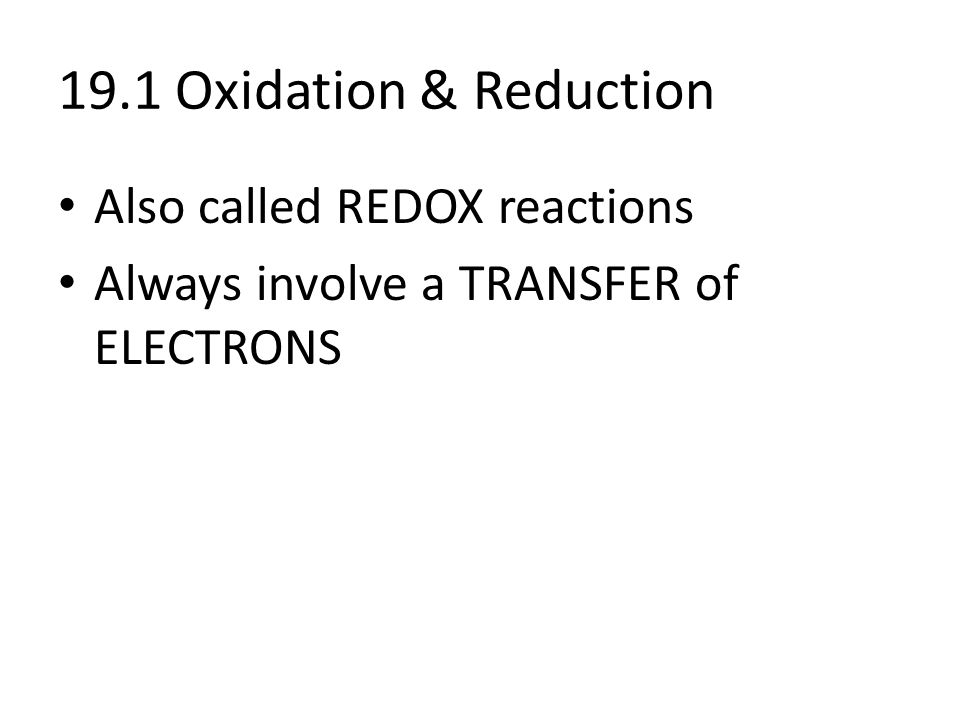 Objectives Assign oxidation numbers to reactant and product – Assigning Oxidation Numbers Worksheet
