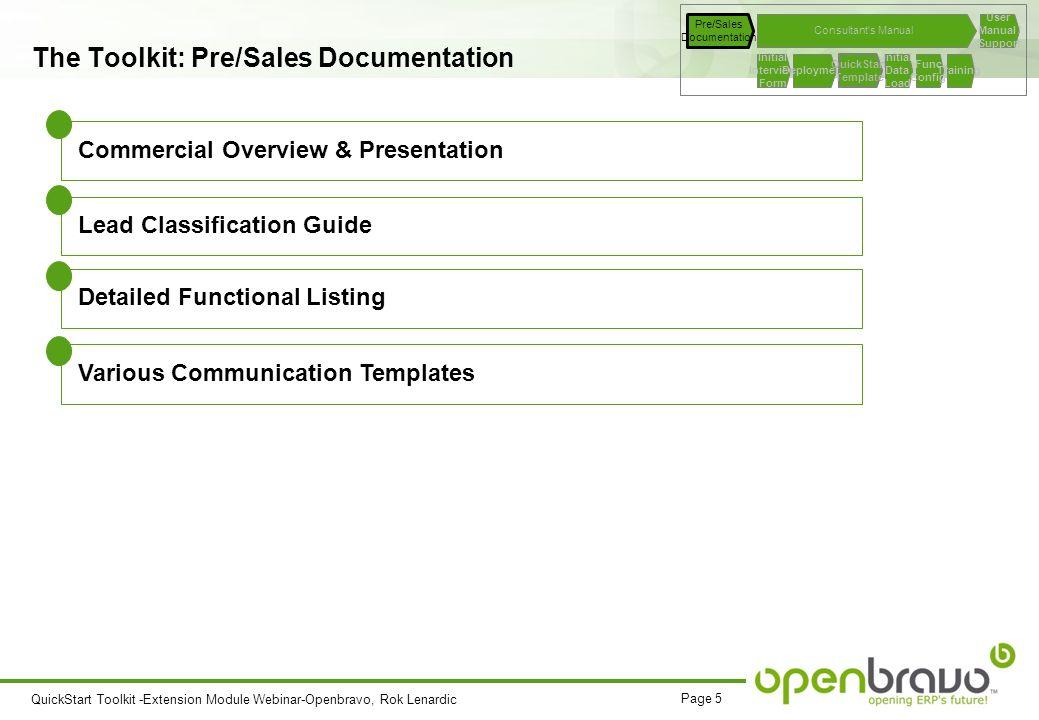 QuickStart Toolkit Template Extension Module Webinar 10 th of – Sales Manual Template