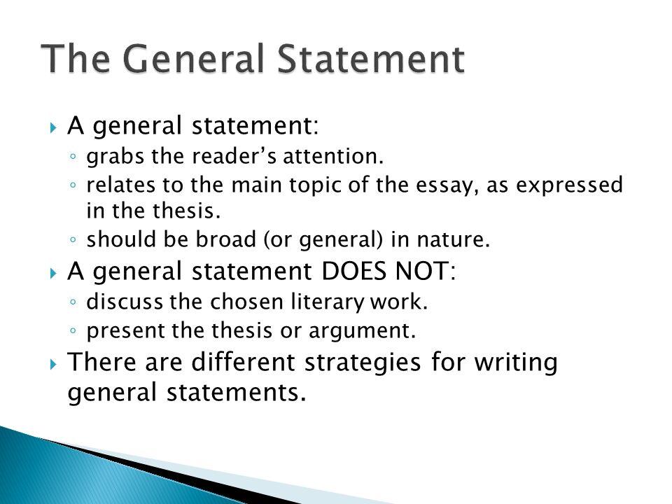 General statement