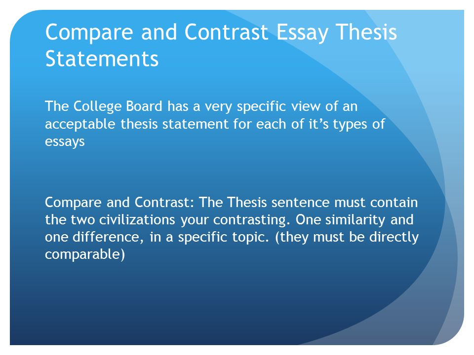 Compare Contrast Essay Topic