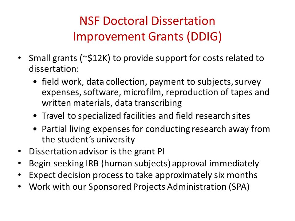 Write my dissertation improvement grants
