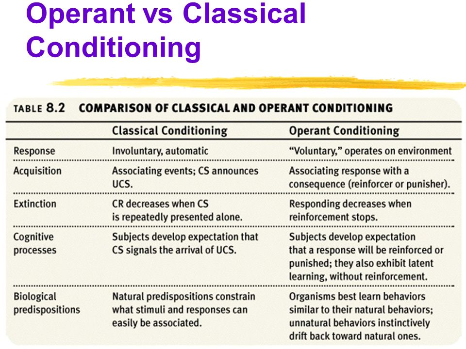 a comparison of classical and operant conditioning