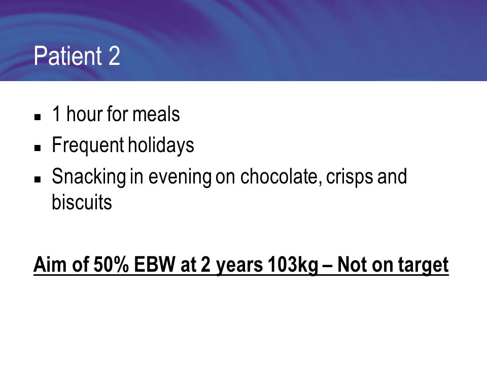 Patient 2 1 hour for meals Frequent holidays Snacking in evening on chocolate, crisps and biscuits Aim of 50% EBW at 2 years 103kg – Not on target