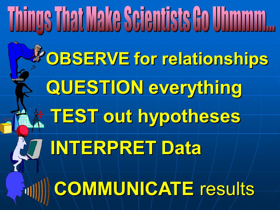 OBSERVE for relationships QUESTION everything TEST out hypotheses INTERPRET Data COMMUNICATE results