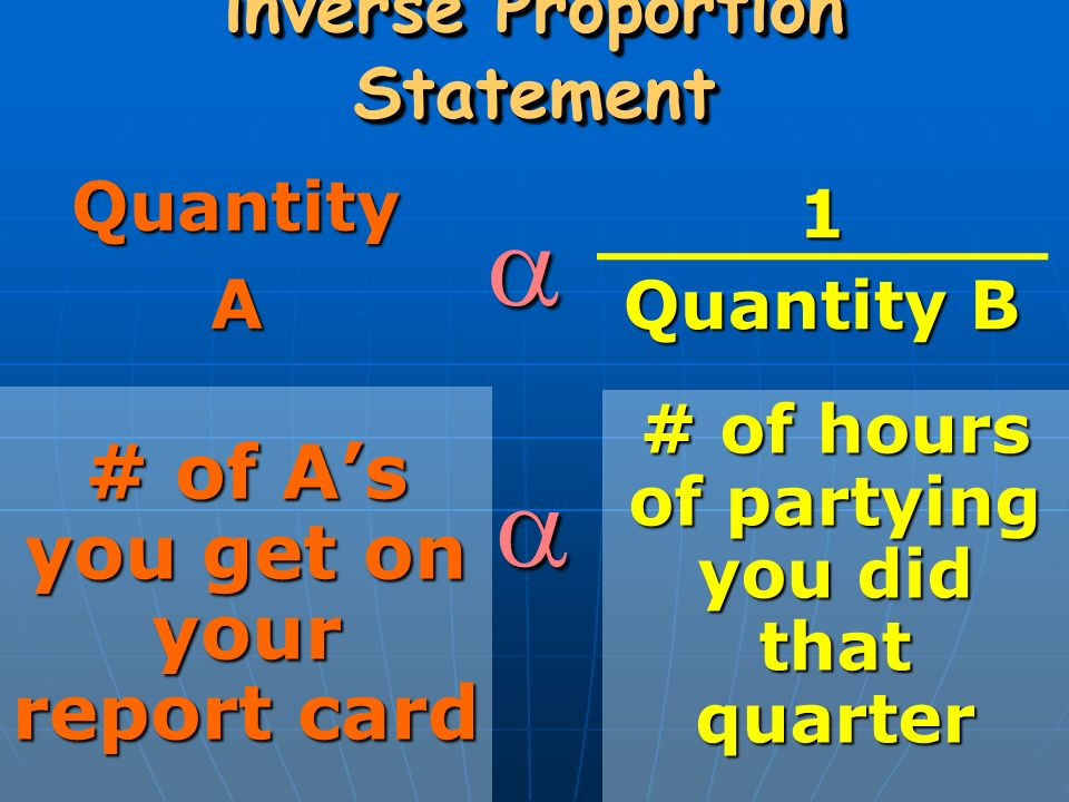 inverse Proportion Statement QuantityA  # of A's you get on your report card  # of hours of partying you did that quarter 1 Quantity B