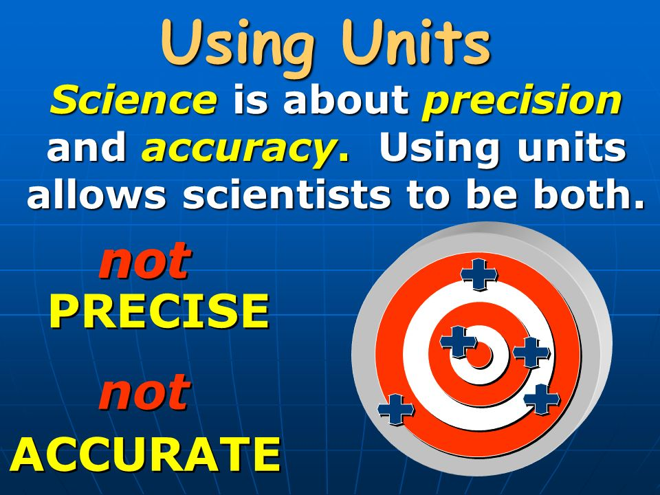 Using Units Science is about precision and accuracy.