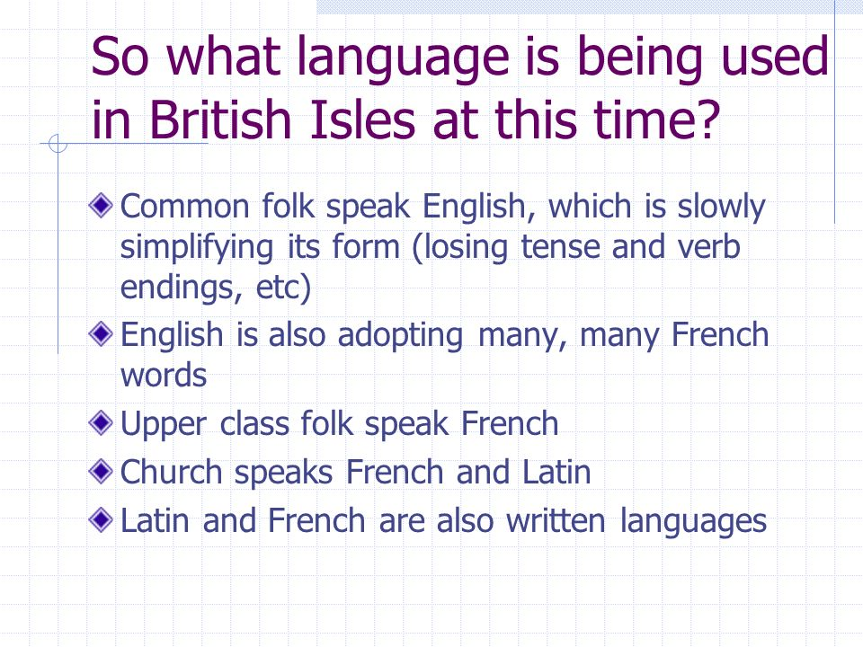 So what language is being used in British Isles at this time.
