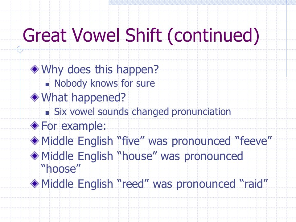 Great Vowel Shift (continued) Why does this happen.